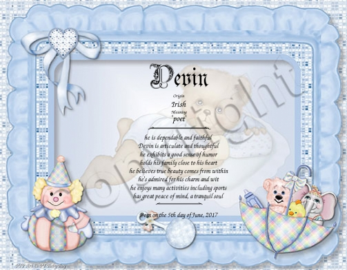Personalized baby boy name meaning gift negle Images